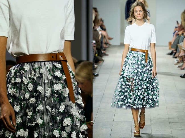 Michael Kors 2015 SS Marigold Floral Embroidered Tulle Skirt