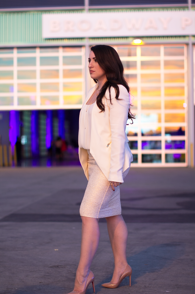 white blazer with gold zips, gold bodycon skirt, christian louboutin pigalle pumps, fashion week san diego