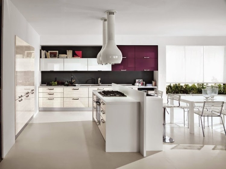 Modern white gloss kitchen units combined with other colors for High gloss kitchen units