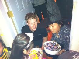 Mark Zuckerberg and wife giving out treats at Halloween!