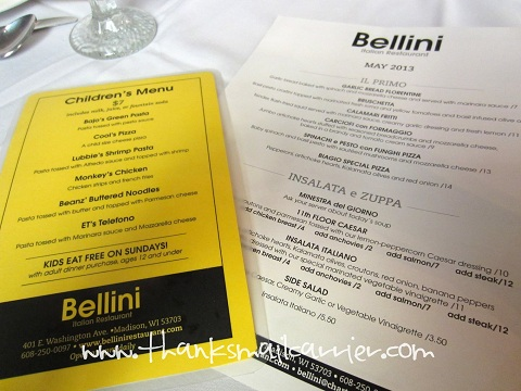Bellini restaurant menu