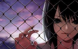 anime girl glance short hair fence brunette hd wallpaper