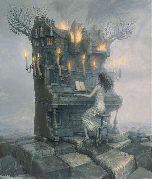 Andrew Ferez 25kartinok deviantart ilustrações sombrias surreais Música no piano