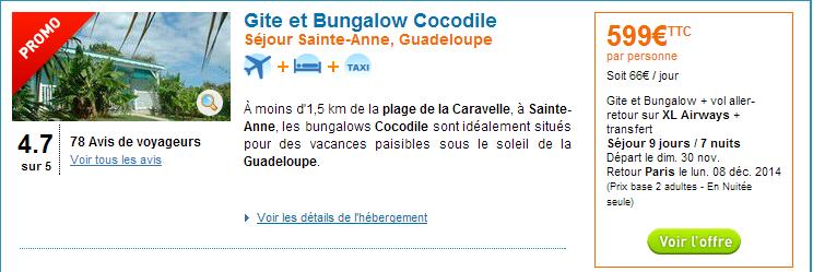 s jour guadeloupe vols bungalow 599 euros air bons plans promos voyages. Black Bedroom Furniture Sets. Home Design Ideas