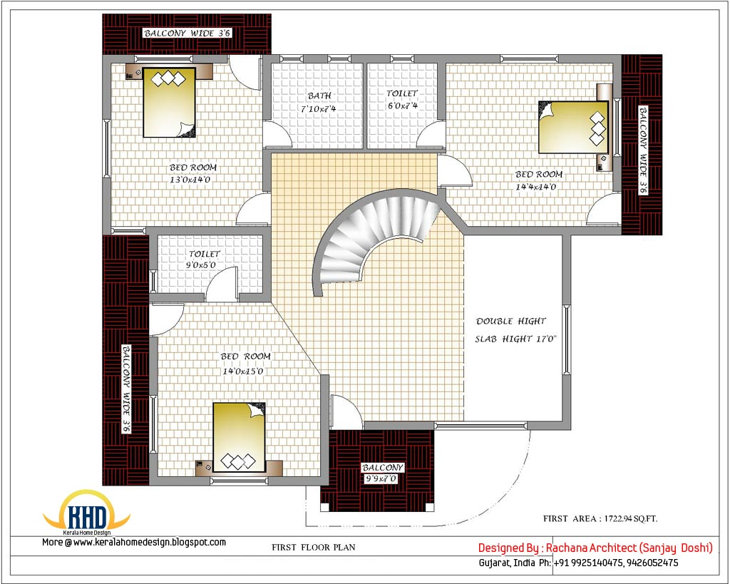 India home design with house plans 3200 sq ft kerala for Two floor house design