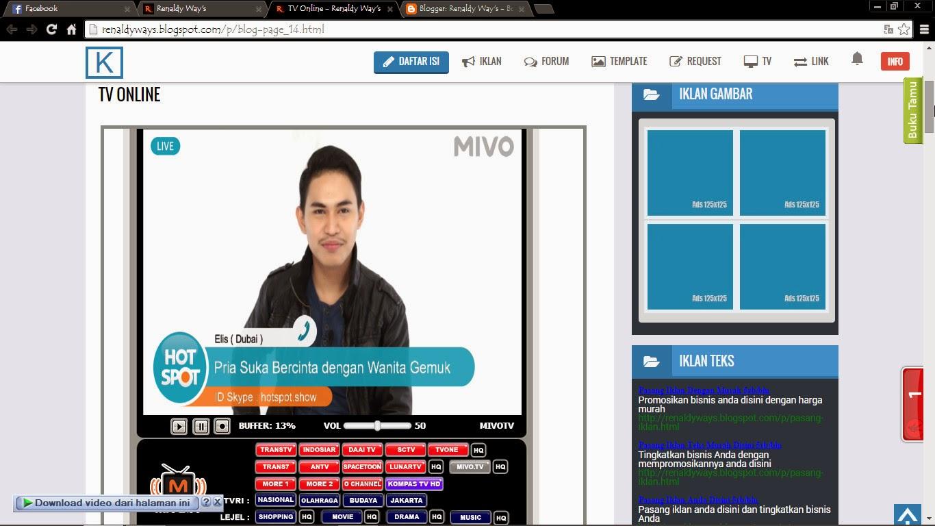 Cara Membuat TV Online Di Halaman Statis Blog
