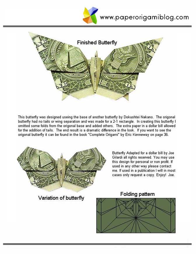 money origami butterfly paper origami guide