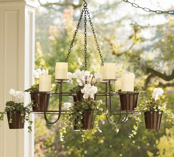 Summer Decorating Ideas Interesting With Outdoor Planter Chandelier Image