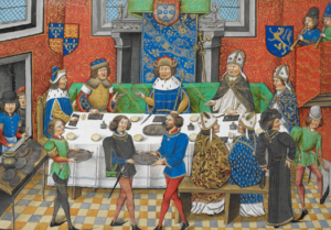 John of Gaunt, Duke of Lancaster dining with the King of  Portugal -Chronique d' Angleterre (Volume III) (late 15th Century)
