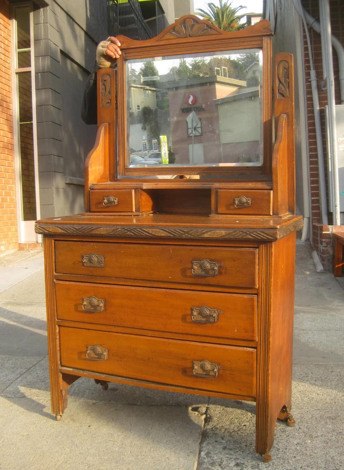 uhuru furniture collectibles sold antique dresser and mirror 180. Black Bedroom Furniture Sets. Home Design Ideas