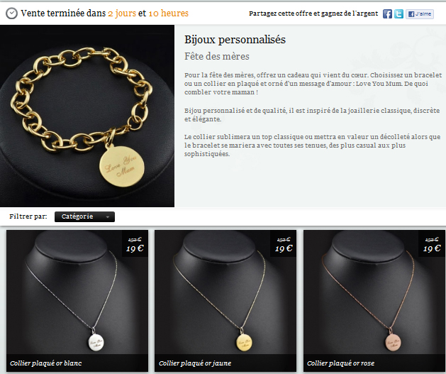 Deal: bijoux personnalisés plaqué or blanc pour la fête des mères bon plan fete des meres