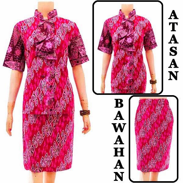 DB3759 Model Baju Dress Batik Modern Terbaru 2014