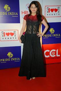 Sneha Ullal in Lovely Black Transparent Long Dress at CCL Charity Dinner