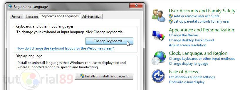 how to change english to arabic keyboard windows 7