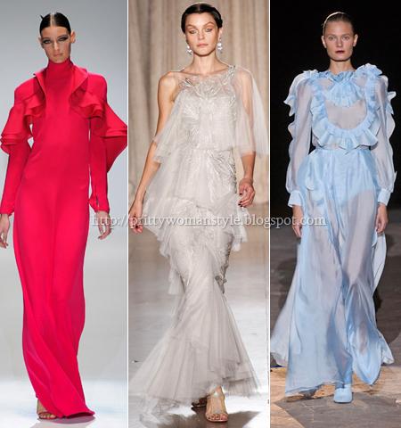 Дълги вечерни рокли с волани и къдрици пролет-лято 2013