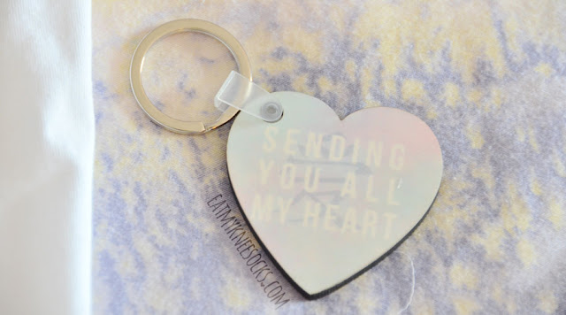 Details on the custom-printed pastel heart-shaped Asian character keychain that I designed and ordered from Snapmade.