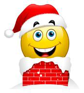Santa smiley going down the chimney