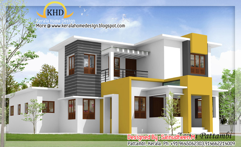 8 beautiful house elevation designs kerala home design for Home designs 3d images