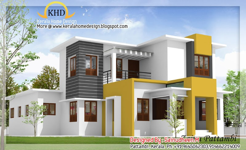 8 beautiful house elevation designs kerala home design for House interior designs 3d