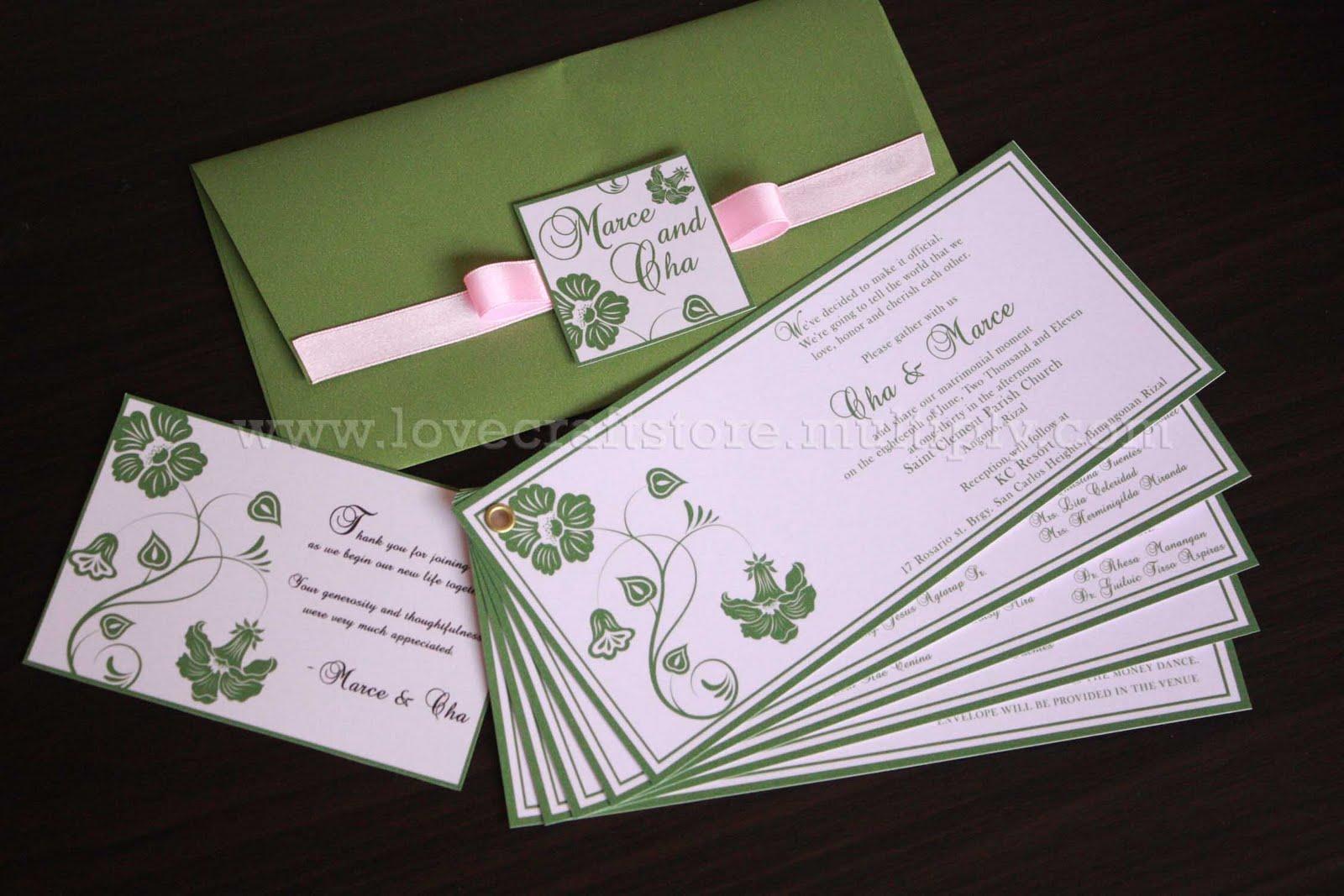mix of randomness: Marce & Cha wedding invitation : olive green + ...