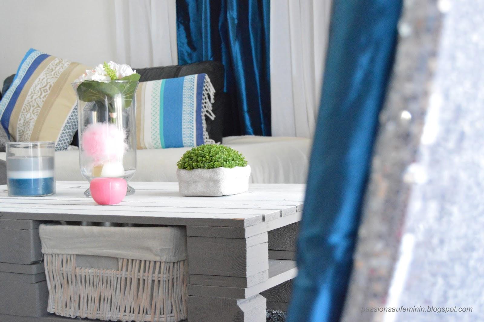 Salon noir blanc argent: decorer mon salon bleu blanc gris argent ...