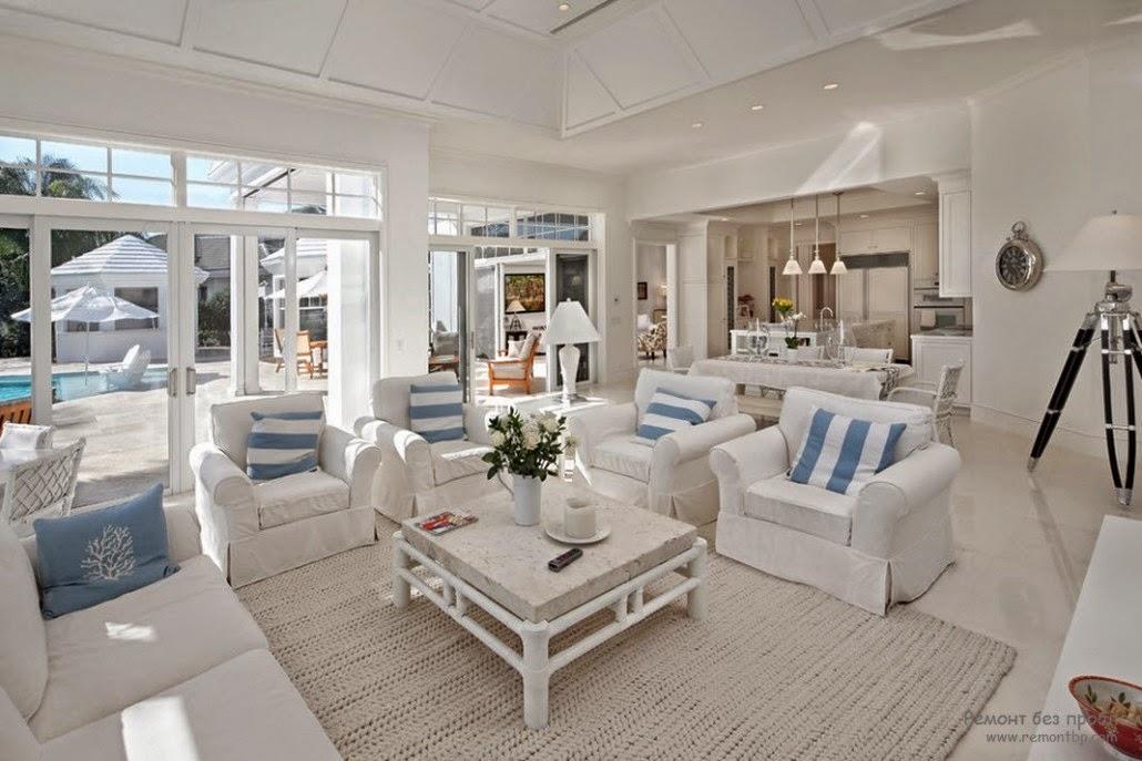 20 white living room design ideas colorful decorations for Blue and white living room ideas