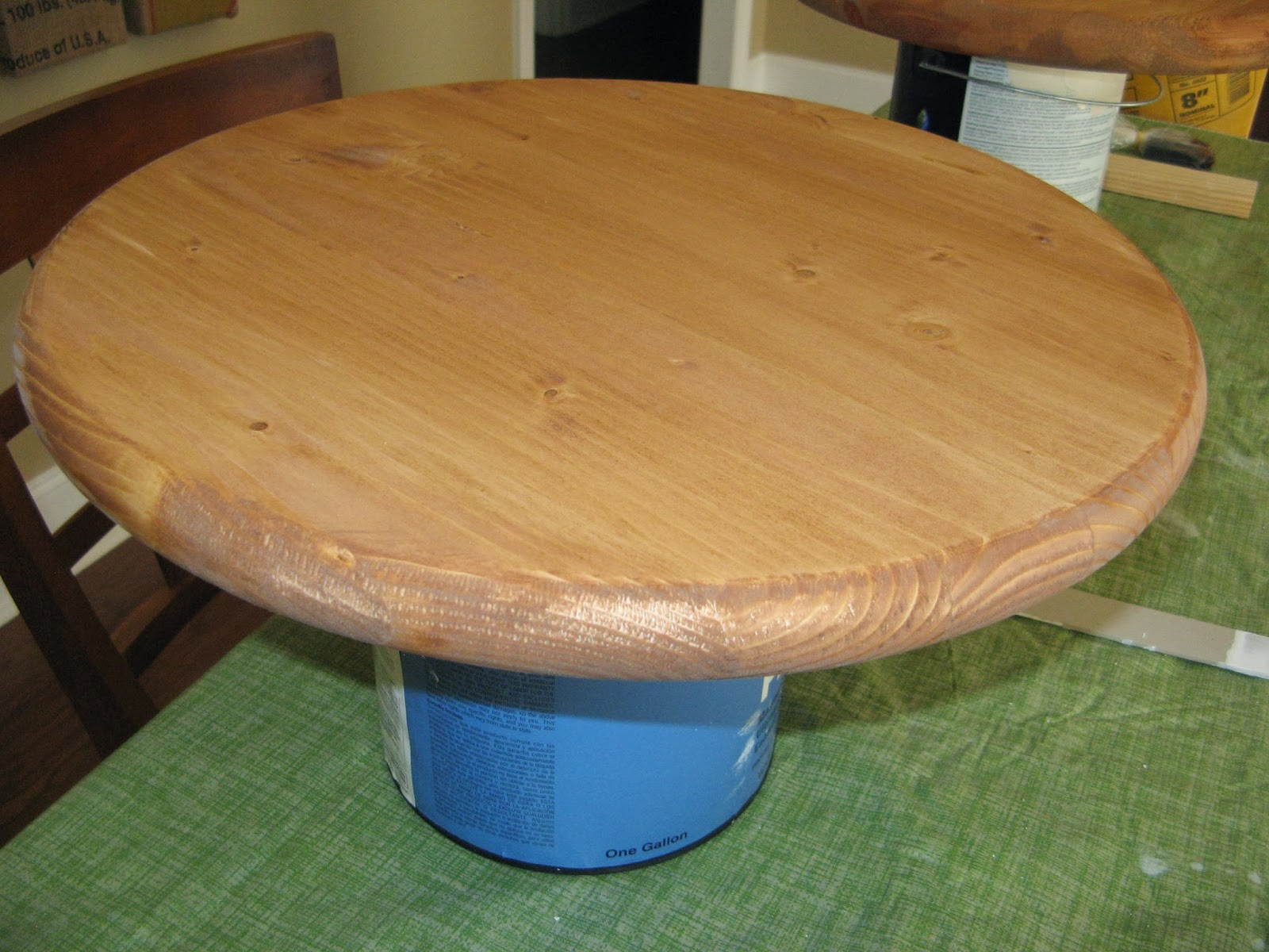 DIY Spool Table - wooden table top and base