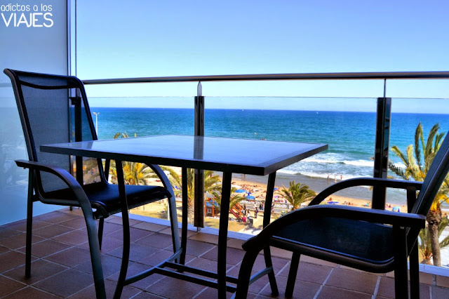Terraza de la Habitación Doble con vistas al mar del Hotel Calípolis Sitges