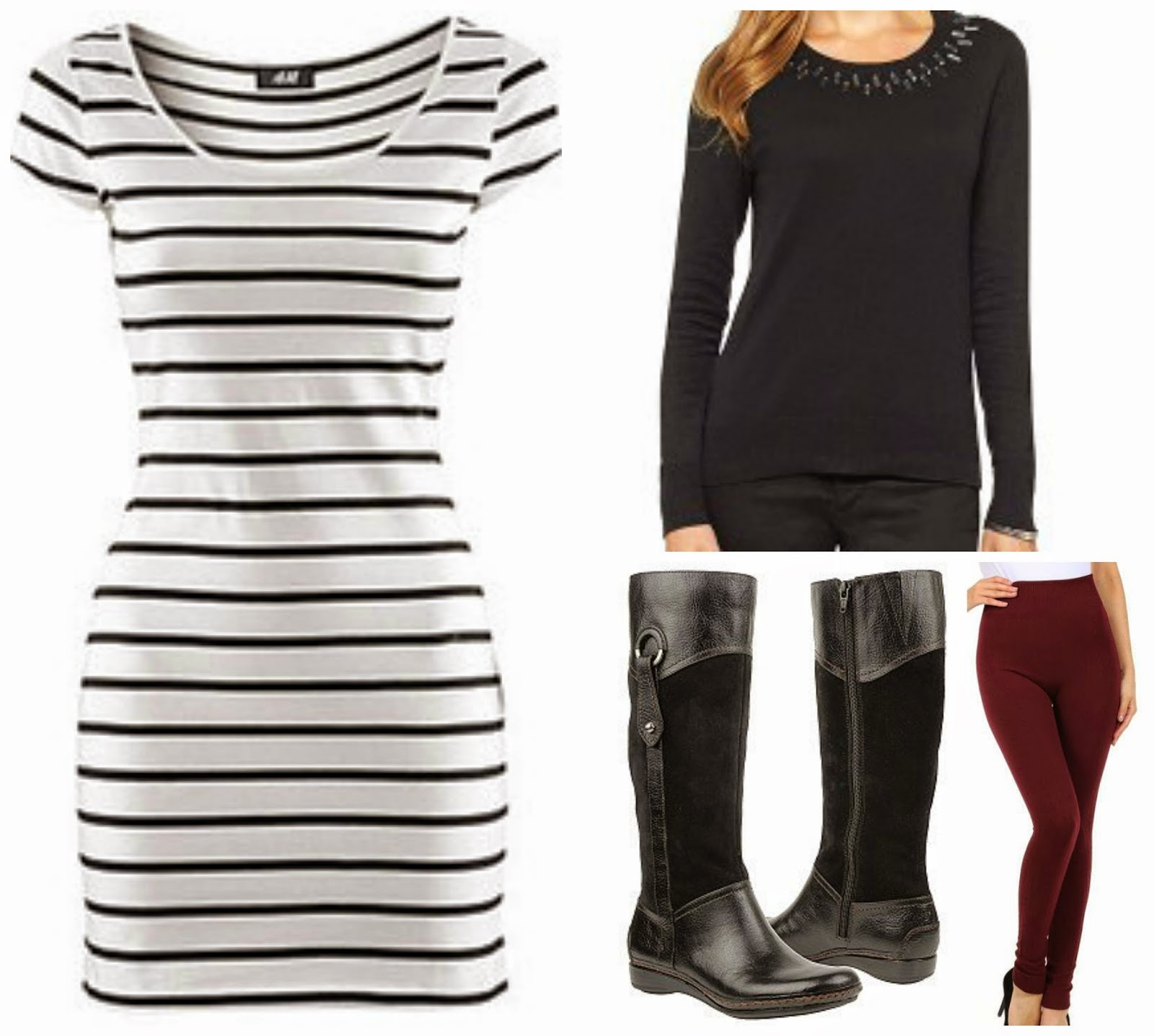 striped dress jeweled collar sweater boots burgundy leggings