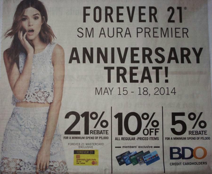 Forever21 SM Aura Premier promo, discount, Philippines promo, Philippines discount, sale, Philippines sale