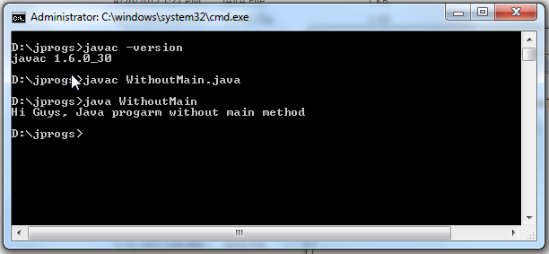 Java Program without main method_Output