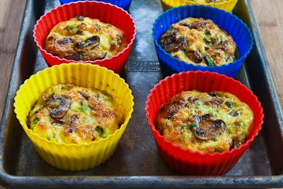 Baked Mini-Frittata with Mushrooms, Cottage Cheese, and Feta [KalynsKitchen.com]