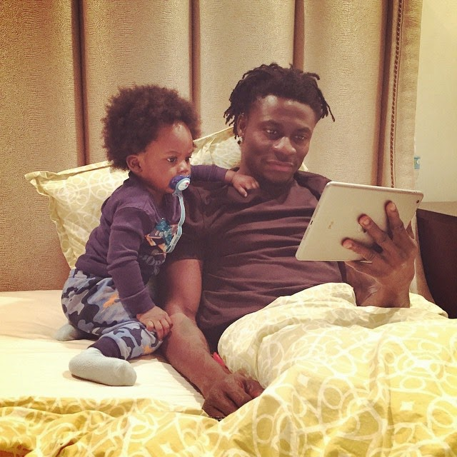 Adorable! Check Out Obafemi Martins and His Son Having a Father-son Moment