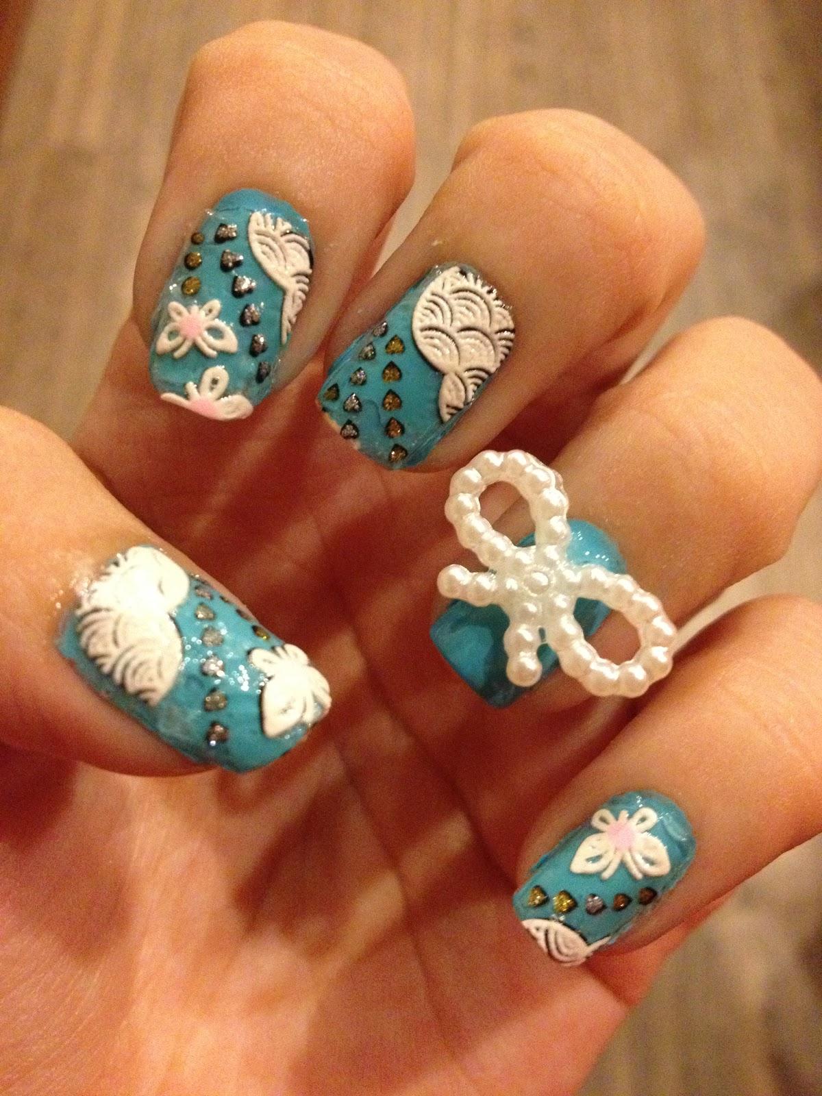 Ribbon nail painting deco