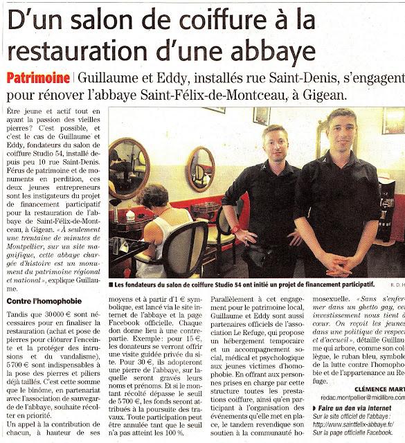 Article du 31 juillet 2013 du journal Midi-Libre édition de Montpellier.