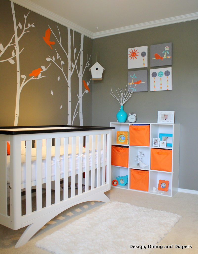 Gender neutral bird inspired nursery design dazzle Nursery wall ideas