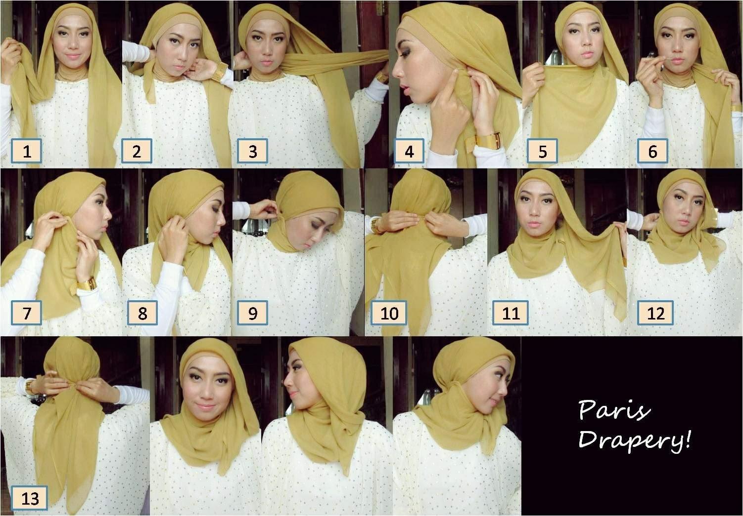 26 Gambar Menarik Tutorial Jilbab Paris Fatin Bisa Didownload