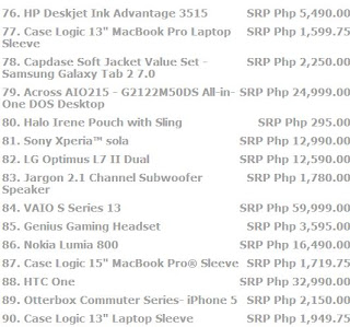 page 6 Price list for laptops, cellphone, tablets, and all other electronic devices