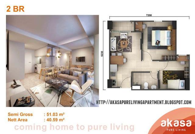 Tipe 2 BR Apartemen Akasa Pure Living BSD