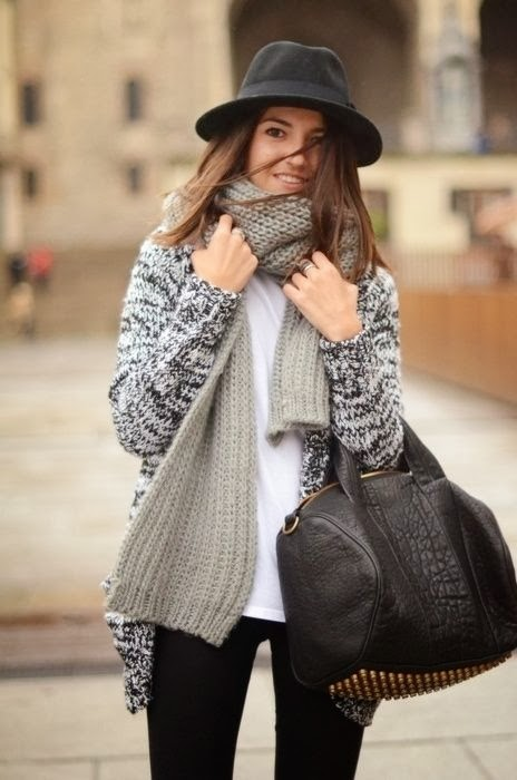 Gray scarf black and white cardigan leather handbag and leggings