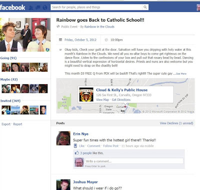 Facebook screen shot of gay party event showing Catholic alter boys