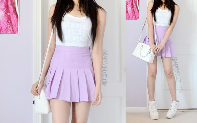 A cute, pastel-grunge Harajuku-inspired outfit, with the custom-print Snapmade tank, a pleated purple American Apparel tennis skirt dupe, a Coach purse, a golden necklace, and spiked white booties.
