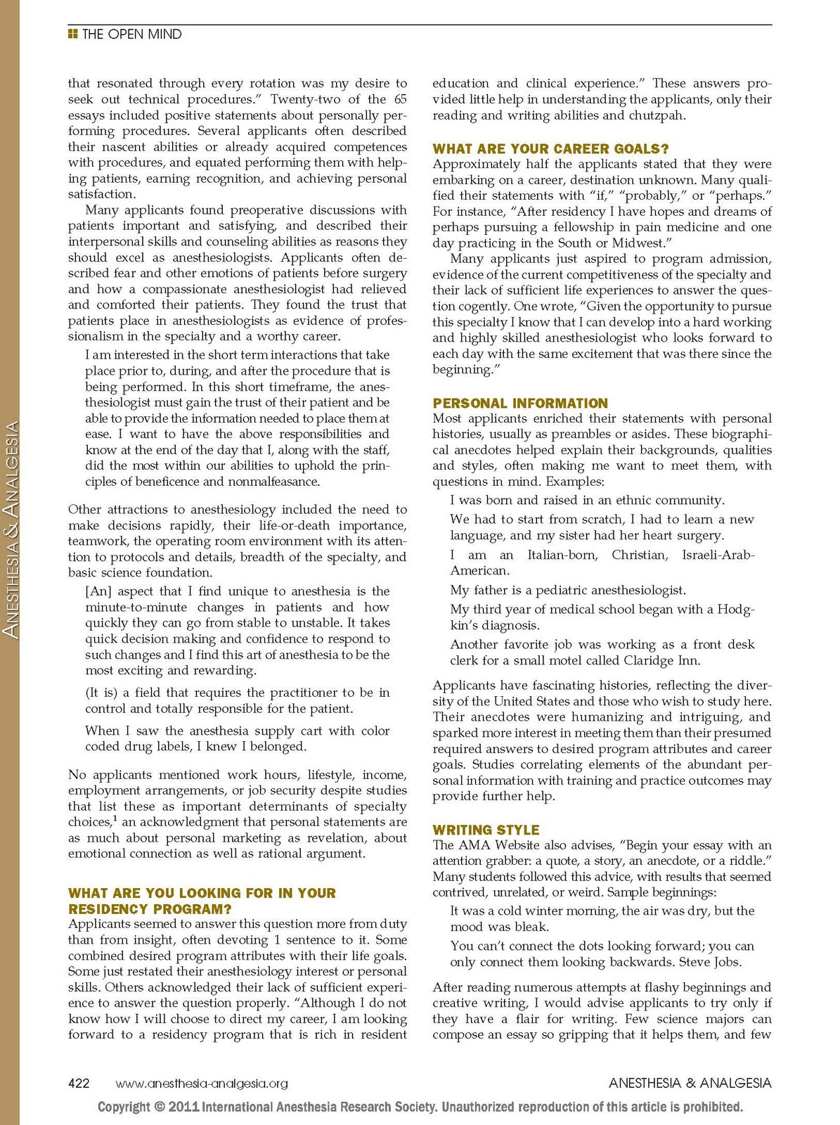 Society for Education in Anesthesia Medical Student Guide to