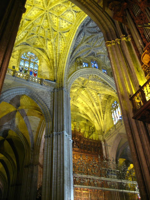 Arched ceilings in Seville Cathedral  in Seville, Spain.