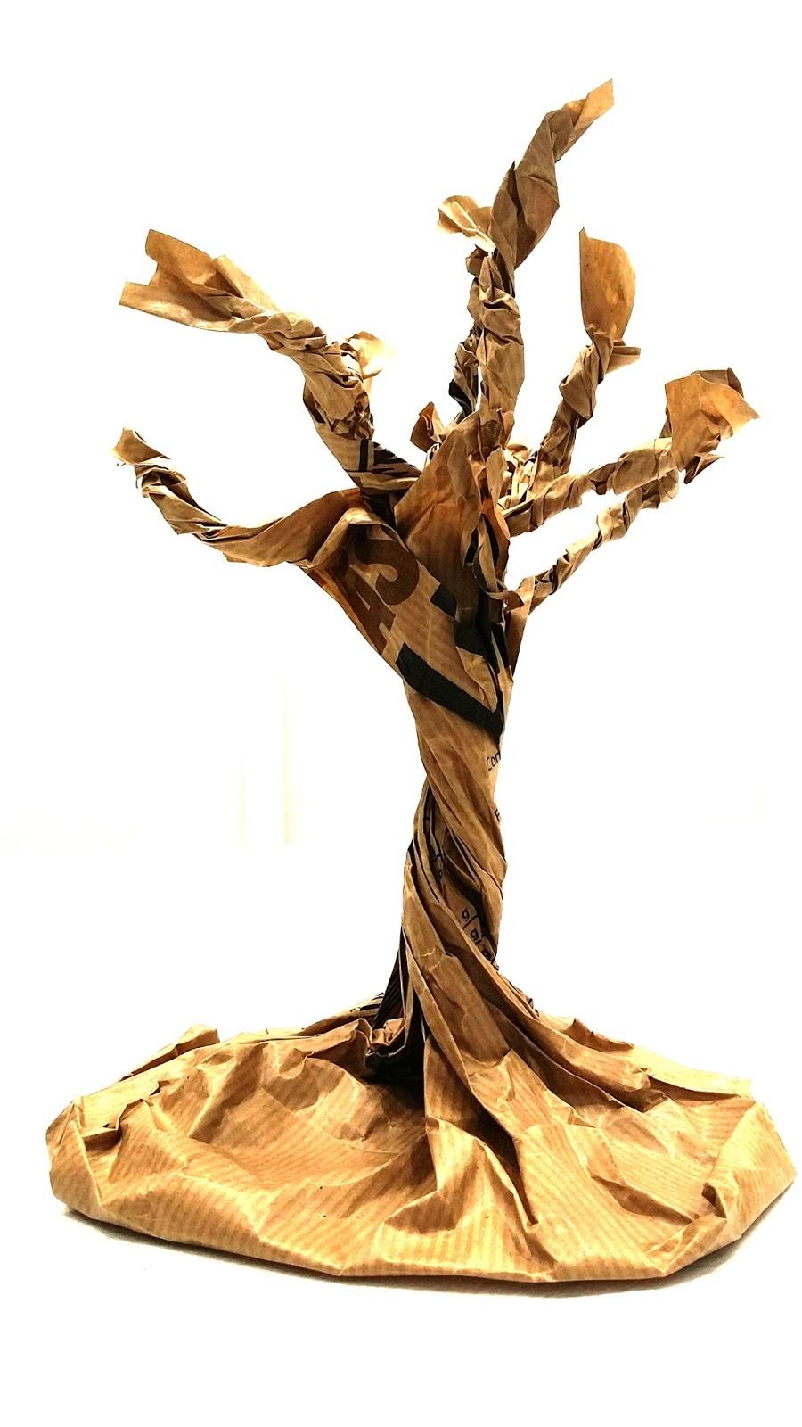 Rbol de oto o con bolsa de papel handbox craft lovers - Papel pintado ramas arbol ...