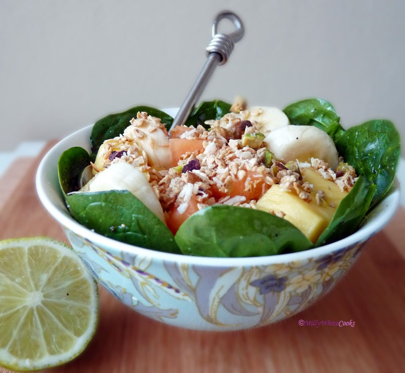 Tropical Fruit Breakfast Salad with Warm Granola Sprinkle