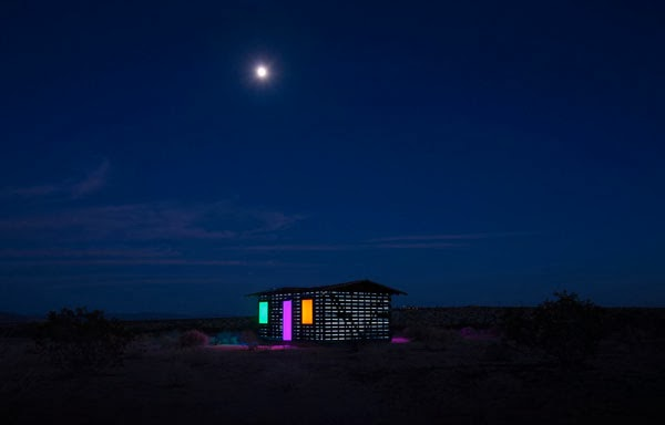 kaleidoscope art house in desert at night