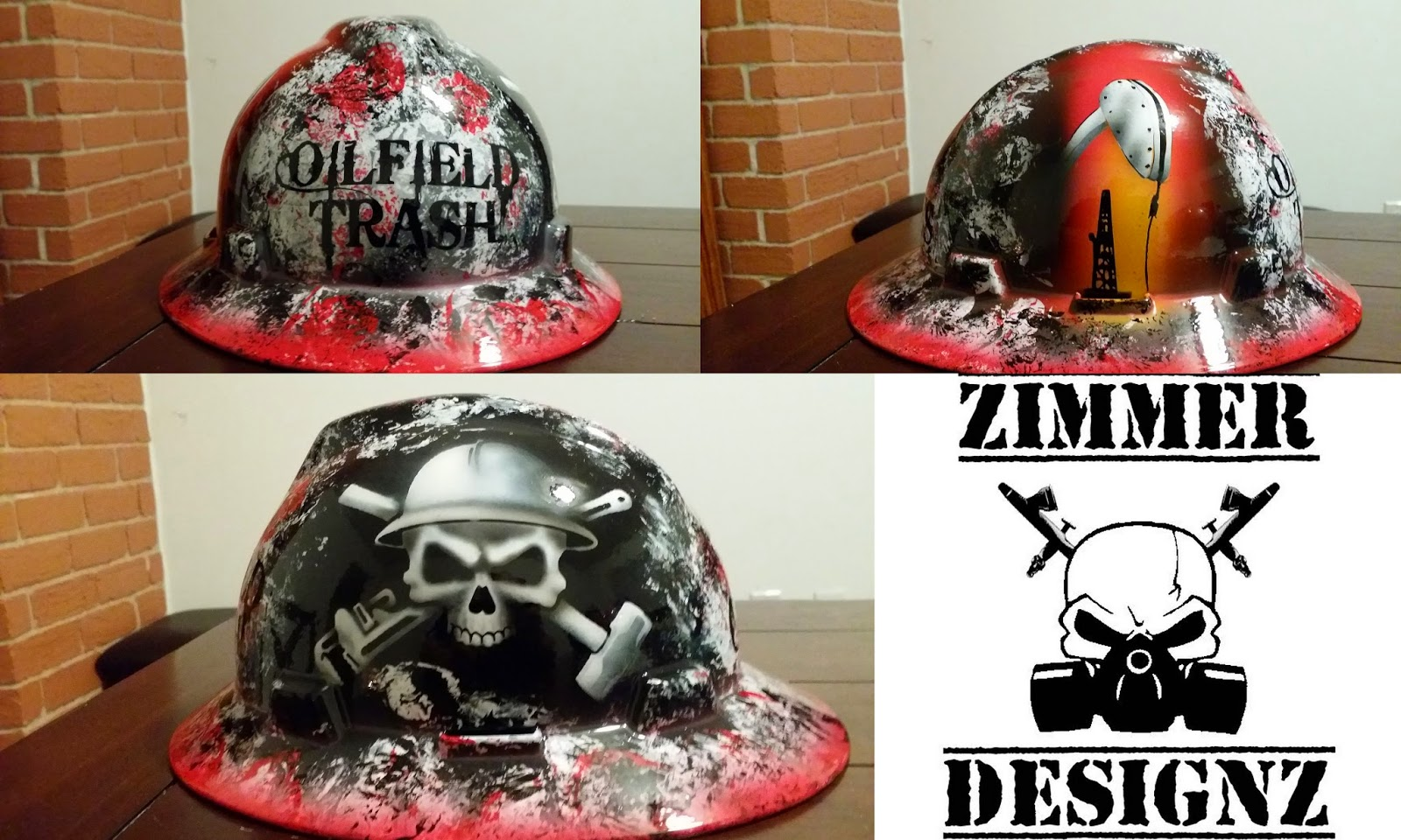 oilfield trash hard hat with skull and crossbones, sledge and crescent wrench
