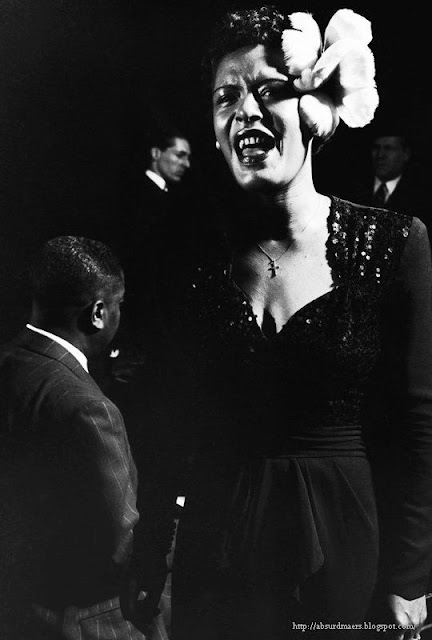 Billie Holiday performing in Esquire Jam Session at the Metropolitan Opera House, NYC, 1944. Photo by Gjon Mili