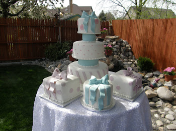 3-tier round fondant with 3 fondant satellite cakes